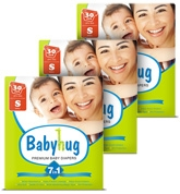 Baby Hug - 7 In 1 Premium Baby Diapers Small, Upto 8 Kgs, 30 Pieces (Combo Pack Of 3)
