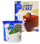 Pillsbury Creamy Vanilla Icing with Pillsbury Cooker Cake - Rich Chocolate Mix