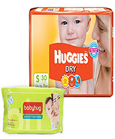 Huggies - Dry Diapers S (Upto 7 Kg), 30 Pieces with Babyhug - Premium Baby Wipes 40 Pieces combo (Set of 2)