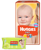 Huggies - Dry M (5 - 11 Kg), 30 Pieces with Babyhug - Premium Baby Wipes 40 Pieces combo (Set of 2)
