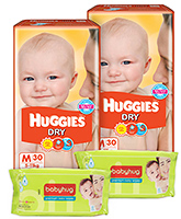  2 Huggies - Dry M (5 - 11 Kg), 30 Pieces with 2 Baby Hug - Premium Baby Wipes 40 Pieces combo (Set of 4)