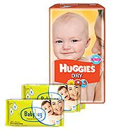 Huggies - Dry M (5 - 11 Kg), 30 Pieces with 2 Baby Hug - Premium Baby Wipes 40 Pieces combo (Set of 3)