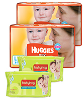 2 Huggies - Dry L (8 - 14 Kg) 30 Pieces with 2 Baby Hug - Premium Baby Wipes 40 Pieces combo (Set of 4)