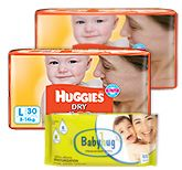 2 Huggies - Dry L (8 - 14 Kg) 30 Pieces with Baby Hug - Premium Baby Wipes 40 Pieces combo (Set of 3)