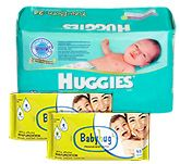 Huggies - New Born Upto 4 Kg, 24 Pieces with with 2 Baby Hug - Premium Baby Wipes 40 Pieces combo (Set of 3)