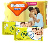 Huggies Pants M (5-11kg), 44 Pants with 2 Baby Hug - Premium Baby Wipes 40 Pieces combo (Set of 3)