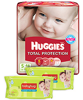 Huggies Total Protection S (Upto 7 Kg), 46 Pieces with 2 Babyhug - Premium Baby Wipes 40 Pieces combo (Set of 3)