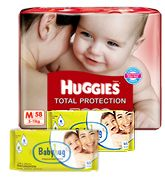 Huggies Total Protection M (5 - 11 Kg), 58 Pieces with 2 Baby Hug - Premium Baby Wipes 40 Pieces combo (Set of 3)