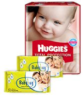 Huggies Total Protection M (5 - 11 Kg), 40 Pieces with 2 Baby Hug - Premium Baby Wipes 40 Pieces combo (Set of 3)