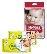Huggies Total Protection XL, (12 Kg+), 46 Pieces with 2 Baby Hug - Premium Baby Wipes 40 Pieces combo (Set of 3)