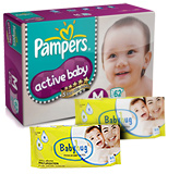 Pampers - Active Baby Diapers M (6 - 11 kg) , 62 Pieces with 2 Baby Hug - Premium Baby Wipes 40 Pieces combo (Set of 3)