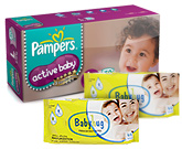 Pampers - Active Baby Diapers L (9 - 14 Kg) 50 diapers with 2 Baby Hug - Premium Baby Wipes 40 Pieces combo (Set of 3)