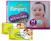 Pampers - Active Baby Diapers M (6-11kg) 42 pieces with 2 Baby Hug - Premium Baby Wipes 40 Pieces combo (Set of 3)