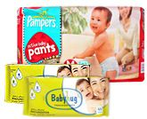 Pampers - Active Baby Pants M (7-10 kg), 42 Pant diapers with 2 Baby Hug - Premium Baby Wipes 40 Pieces combo (Set of 3)