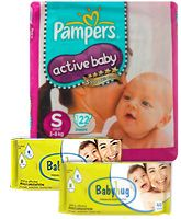 Pampers - Active Baby Diapers S ( 3 - 8 Kg), 22 Pieces with 2 Baby Hug - Premium Baby Wipes 40 Pieces (Set of 3)
