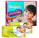 Pampers - Active Baby Diapers XL, 12 kg, 32 Diapers with 2 Baby Hug - Premium Baby Wipes 40 Pieces (Set of 3)