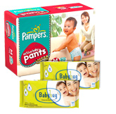 Pampers Active Baby Pants Medium, 7-12 kg, 60 pcs with 2 Baby Hug - Premium Baby Wipes 40 Pieces each  combo (Set of 3)