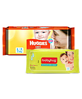 Huggies Dry Diapers Large - 5 Pieces (8 - 14 Kg) with Babyhug - Premium Baby Wipes 40 Pieces (Combo Pack of 2)