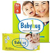 Baby Hug - 7 in 1 Premium Baby Diapers Small, upto 8 Kgs, 30 pieces with Wipes 40 Pieces (Pack of 2)