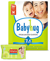 Baby Hug - 7 in 1 Premium Baby Diapers Medium, 6 -11 Kg, 36 Pieces with Wipes 40 Pieces (Pack of 2)