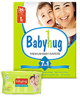 Babyhug - 7 in 1 Premium Baby Diapers Large, 9 - 14 Kgs, 36 pieces with Wipes 40 Pieces (Pack of 2)
