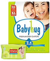 Baby Hug - 7 in 1 Premium Baby Diapers Extra Large, 12 Kg and above, 32 Pieces with Wipes 40 Pieces (Pack of 2)