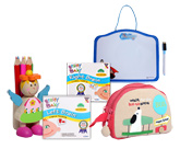 White Board with Pencil Holder,Brainy Baby VCDs & Kids School Bag(Pack of 5)