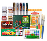 Camel Colouring Set(Acrylic,Tubes,Cakes,Oil Pastels & Sparkle) with Paint Brushes & Drawing Pad(Pack of 7)