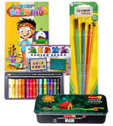 Numero Board With Oil Pastels,Poster Colors,Brush Set & Drawing Book