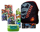 Superman Backpack with Pencil Box,Ben 10 Notebooks,Sipper & Lunch Box