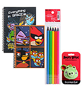 Angry Bird School Combo:Color Pencils,Notebooks & Backpack(Pack of 4)