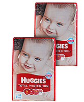 Huggies Total Protection,L (8 - 14 Kg), 36 Pieces (Combo Pack of 2)