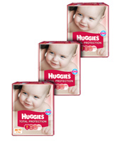 Huggies Total Protection,M (5 - 11 Kg), 40 Pieces(Pack of 3)
