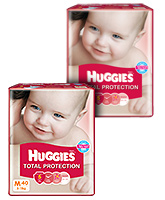 Huggies Total Protection,M (5 - 11 Kg), 40 Pieces(Pack of 2)
