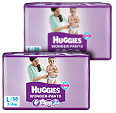 Huggies - Wonder Pants, L ( 9 - 14 Kg), 38 Pieces(Combo Pack of 2)