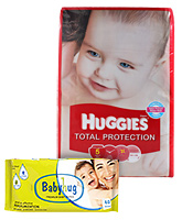 Huggies Total Protection,Size Large 36 with Babyhug Premium Wipes(Set of 2)