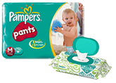 Pampers Diaper Pants - M 60 pieces with Pampers Wipes 72 Pieces Combo Pack of 2