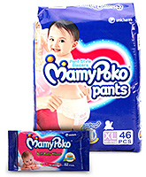 Mamy Poko Pants Pant Style Diapers XL - 46 Pieces with Mamy Poko Soft Baby Wipes 52 pieces ( Combo pack of 2 )