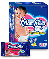 Mamy Poko Extra Absorb Pant Style Diaper Medium - 60 Pieces with Mamy Poko Soft Baby Wipes 52 pieces ( Combo pack of 2 )