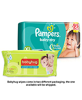 Pampers Baby Dry Diaper Extra Large - 5 Pieces with Babyhug Premium Baby Wipes - 80 Pieces - Pack of 2
