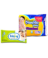 MamyPoko Pants Standard Pant Style Diapers XL - 14 Pieces with Babyhug Premium Baby Wipes - 80 Pieces - Pack of 2