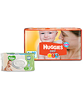 Huggies Dry Diapers Large - 30 Pieces with Huggies Thick Baby Wipes Imported - 80 Pieces - Pack of 2