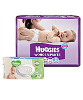 Huggies Wonder Pants Small - 48 Pieces with Huggies Thick Baby Wipes Imported - 80 Pieces - Pack  of 2