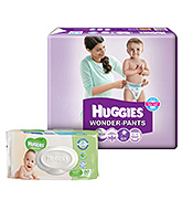 Buy Huggies Wonder Pants Large - 60 Pieces and Get  Huggies Thick Baby Wipes Imported - 80 Pieces FREE
