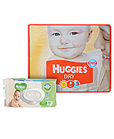 Buy Huggies Dry Diapers Medium - 62 Pieces and Get  Huggies Thick Baby Wipes Imported - 80 PiecesFREE