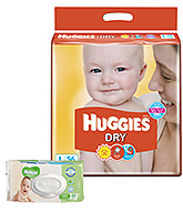 Buy Huggies Dry Diapers Large - 56 Pieces and Get  Huggies Thick Baby Wipes Imported - 80 Pieces FREE