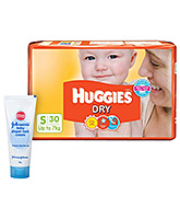 Huggies Dry Diapers Small - 30 Pieces +  Johnsons baby Diaper Rash Cream - 40 gram = Pack of 2