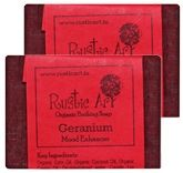 Rustic Art Geranium Organic Bathing Soap (Pack Of 2)