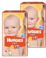 Huggies - Dry M (5 - 11 Kg), 30 Pieces (Combo Pack of 2)