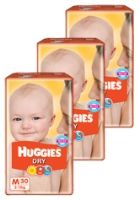 Huggies - Dry M (5 - 11 Kg), 30 Pieces (Combo Pack of 3)